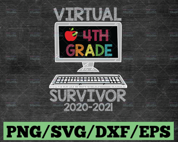 WTMETSY16122020 03 25 Vectorency Hello Virtual Fourth Grade Survivor PNG, Back To School PNG, 4th Grade PNG, Sublimation, Transfer, Digital Download
