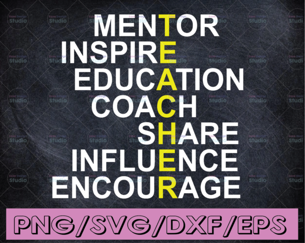 WTMETSY16122020 04 224 Vectorency Teacher cut file, Mentor, Inspire, Educate, Coach, Share, Influence, Encourage, svg, dxf, jpg, cut file, SVG, png, eps, ai