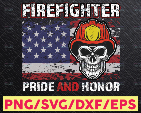 WTMETSY16122020 05 159 Vectorency Firefighter Png American Firefighter USA American Flag Pride Honor Fire Dept Png