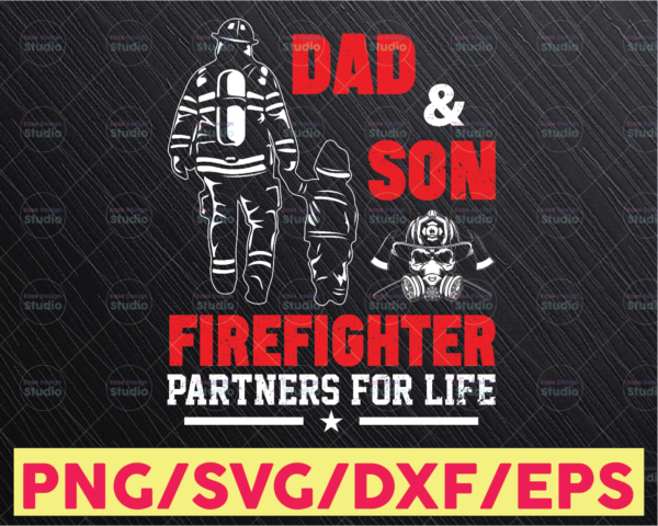WTMETSY16122020 05 177 Vectorency Firefighter Dad PNG, Fireman Dad svg Design, Dad Daughter and Son, Fathers Day Gift, Hands Holdings, Gift for Him, Sublimated Printing