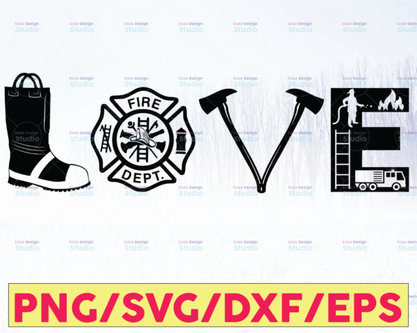 WTMETSY16122020 05 210 Vectorency Firefighter Love - svg, png, dxf, eps. Cutting, crafting, printing, sublimating, iron on transfer