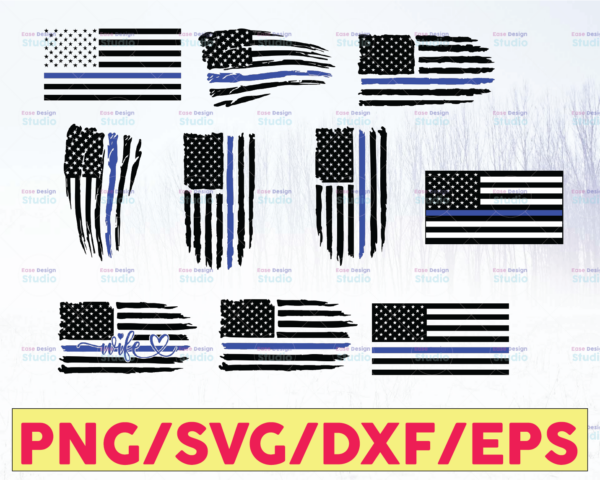 WTMETSY16122020 05 225 Vectorency Police Flag Bundle, Police Thin Blue Line SVG |The Blue Lives Matter| Police Life Svg| Police Quotes svg png dxf