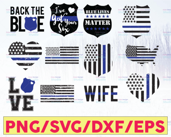 WTMETSY16122020 05 240 Vectorency Police Flag Bundle, Police Thin Blue Line SVG |The Blue Lives Matter| Police Life Svg| Police Quotes svg png dxf