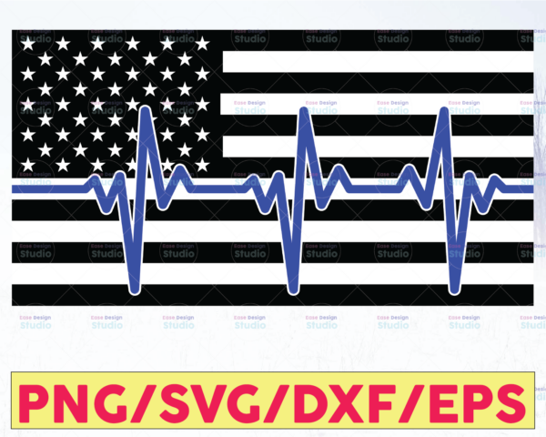 WTMETSY16122020 05 278 Vectorency American Flag Heartbeat Black White Blue Police Thin Blue Line SVG |The Blue Lives Matter| Police Life Svg| Police Quotes svg png dxf