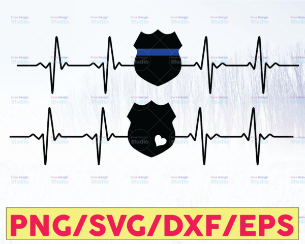 WTMETSY16122020 05 301 Vectorency Police Badge Heartbeat - American Flag, Police Thin Blue Line SVG  The Blue Lives Matter  Police Life Svg  Police Quotes svg png dxf