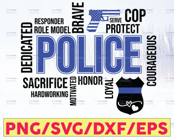 WTMETSY16122020 05 322 Vectorency Police Typography svg, Police Thin Blue Line SVG |The Blue Lives Matter| Police Life Svg| Police Quotes svg png dxf