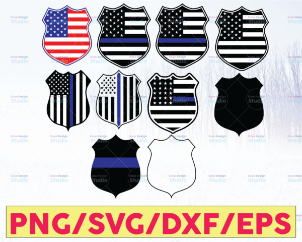 WTMETSY16122020 05 328 Vectorency Police Badge Bundle - American Flag, Police Thin Blue Line SVG  The Blue Lives Matter  Police Life Svg  Police Quotes svg png dxf
