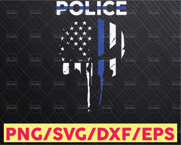 WTMETSY16122020 05 329 Vectorency Police Skull thin blue line svg, Police Thin Blue Line SVG |The Blue Lives Matter| Police Life Svg| Police Quotes svg png dxf