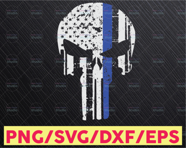 WTMETSY16122020 05 330 Vectorency Police Skull thin blue line svg, Police Thin Blue Line SVG |The Blue Lives Matter| Police Life Svg| Police Quotes svg png dxf