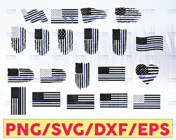 WTMETSY16122020 05 332 Vectorency Police Flag Bundle, Police Thin Blue Line SVG  The Blue Lives Matter  Police Life Svg  Police Quotes svg png dxf