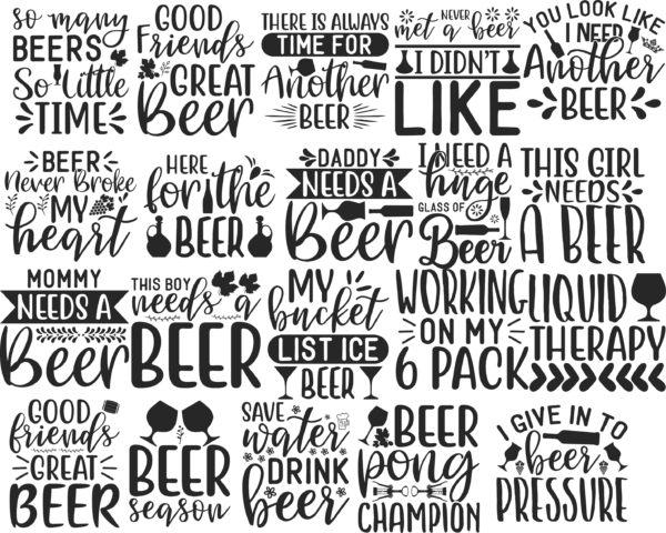 all 1 Vectorency Beer SVG Bundle, Beer Drinking svg cut files, Beer Quotes, Alcohol Bundle cut files, cricut, silhouette, Beer day svg