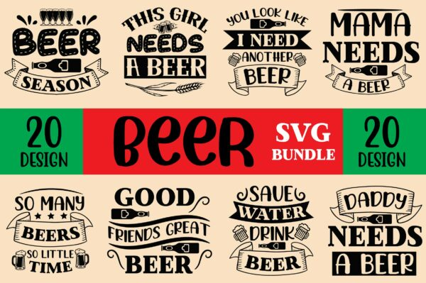 creative page 01 Vectorency 20 Design Beer SVG Bundle, Beer Drinking svg cut files, Beer Quotes, Alcohol Bundle cut files, cricut, silhouette, Beer day svg