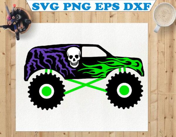 wtm 01 112 Vectorency Layered Black Monster Truck, White Skull, Green Flames, Purple Lightning, Like Grave Digger, Digital Download SVG