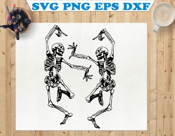 wtm 01 113 Vectorency Dancing Skeletons SVG, Skeleton Funny Dance SVG, Skeleton SVG, Halloween SVG, Cricut Files, Silhouette Cameo