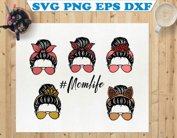 wtm 01 70 Vectorency Messy Bun with Sunglasses SVG, Momlife, Momlife SVG, Mom Skull SVG, Messy Bun Classy Afro Woman SVG, Printable, Cricut & Silhouette
