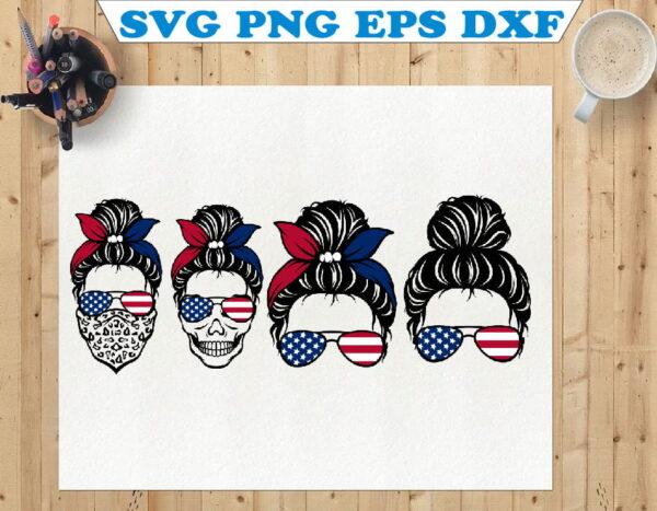 wtm 01 71 Vectorency Messy Bun SVG, America Flag Skull SVG, Momlife SVG, Mom Skull SVG, Messy Bun Classy Afro Woman SVG, Printable, Cricut & Silhouette