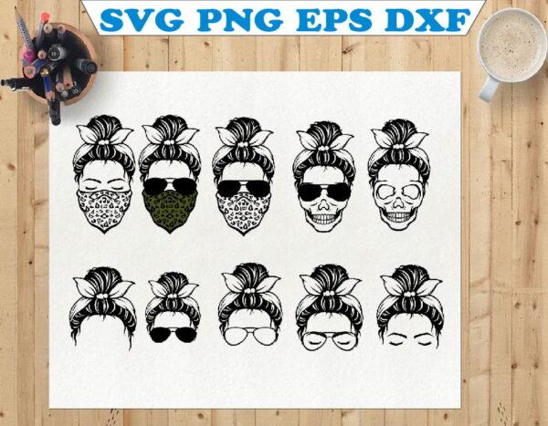 wtm 01 72 Vectorency Messy Bun with Bandana SVG, Momlife SVG, Momlife, Mom Skull SVG, Messy Bun Classy Afro Woman SVG, Printable, Cricut & Silhouette