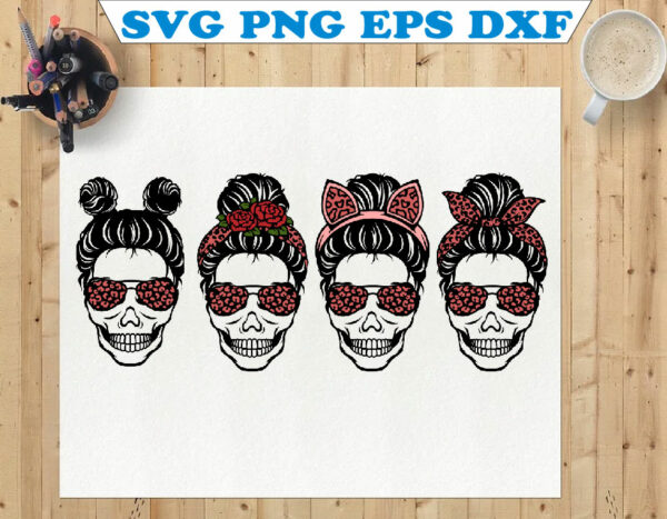 wtm 01 76 Vectorency Layered Leopard Messy Bun SVG, Skull SVG, Momlife SVG, Mom Skull SVG, Messy Bun Classy Afro Woman SVG, Printable, Cricut & Silhouette
