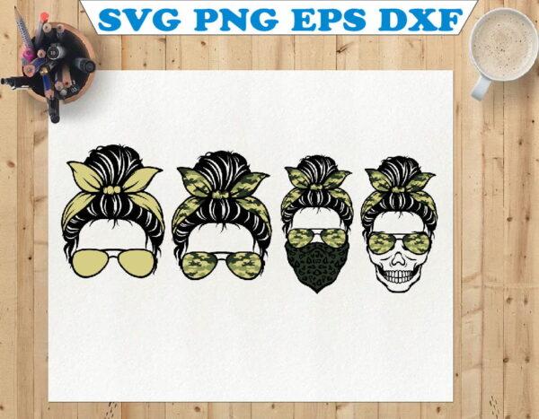 wtm 01 77 Vectorency Messy Bun SVG, Army SVG, Skull SVG, Momlife SVG, Mom Skull SVG, Messy Bun Classy Afro Woman SVG, Printable, Cricut & Silhouette