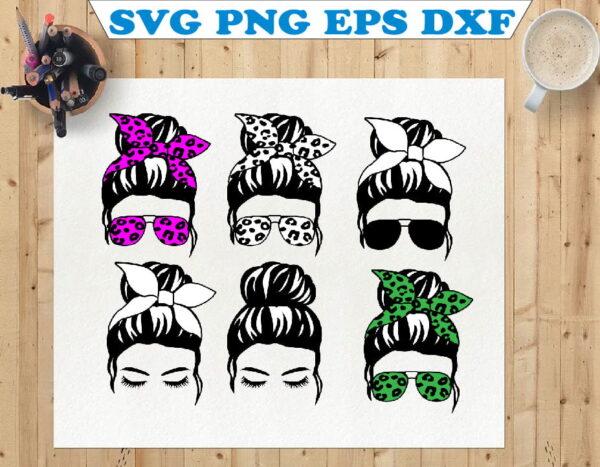 wtm 01 78 Vectorency Messy Bun SVG, Messy Hair SVG, Momlife SVG, Mom Skull SVG, Messy Bun Classy Afro Woman SVG, Printable, Cricut & Silhouette
