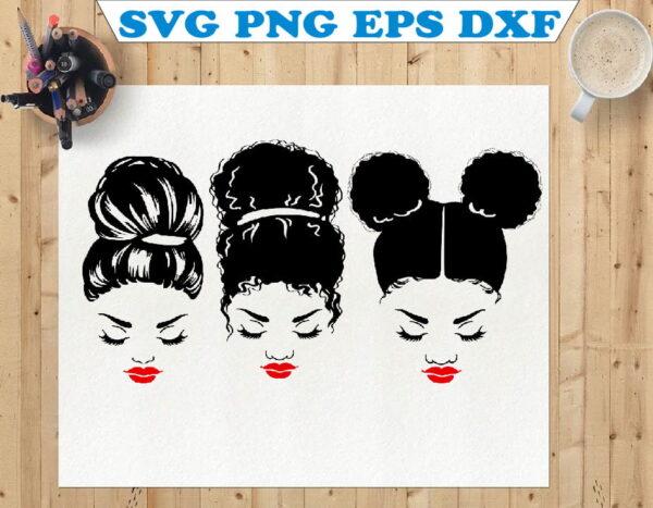 wtm 01 81 Vectorency Curly Messy Bun SVG Cut Files, Mom Life, Momlife SVG, Mom Skull SVG, Messy Bun Classy Afro Woman SVG, Printable, Cricut & Silhouette