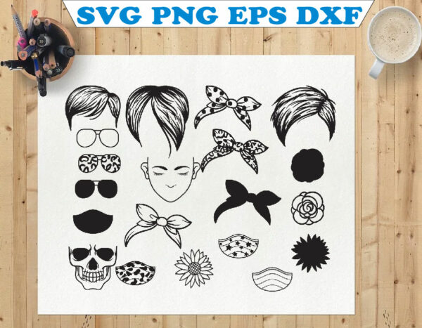 wtm 01 86 Vectorency Pixie Messy Bun Bandana Mom Life SVG, Momlife SVG, Mom Skull SVG, Messy Bun Classy Afro Woman SVG, Printable, Cricut & Silhouette