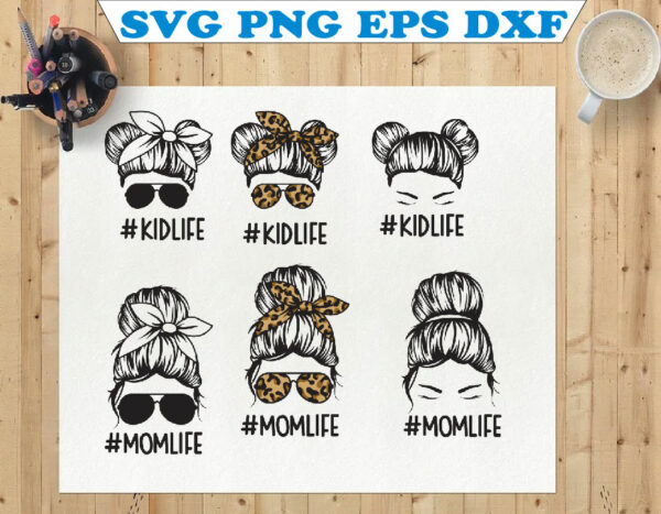wtm 01 87 Vectorency Messy Bun SVG, Mom Life and Kid Life SVG, Momlife SVG, Mom Skull SVG, Messy Bun Classy Afro Woman SVG, Printable, Cricut & Silhouette