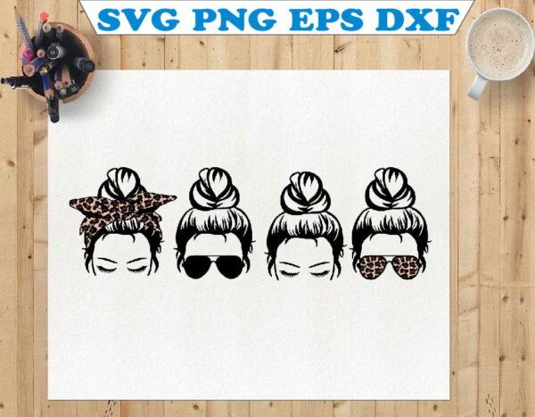 wtm 01 96 Vectorency Messy Bun, Mom Life, Hair Bun, Top Knot, Momlife SVG, Mom Skull SVG, Messy Bun Classy Afro Woman SVG, Printable, Cricut & Silhouette