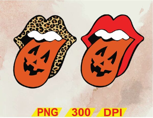 wtm 02 16 Vectorency Lips with Tongue Out Pumpkins Halloween SVG, Halloween SVG, Leopard Tongue PNG, Kiss Lips SVG, Kiss SVG PNG DXF