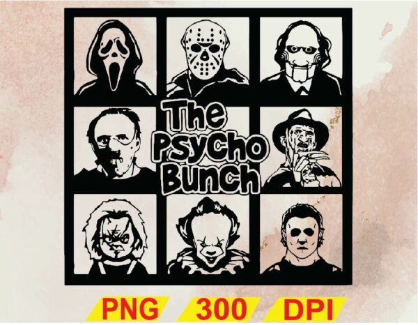 wtm 02 22 Vectorency The Psycho Bunch SVG, Friends Horror Movie, Creepy Team Halloween SVG, Halloween SVG, Nightmare Before Christmas SVG