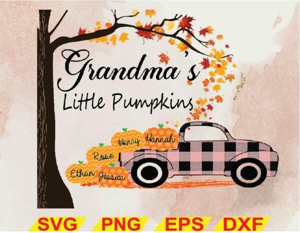 wtm 02 Vectorency Grandma's Little Pumpkins PNG, Customize Personalized, Pumpkins, Plaid Truck, Thanksgiving Halloween, Digital File