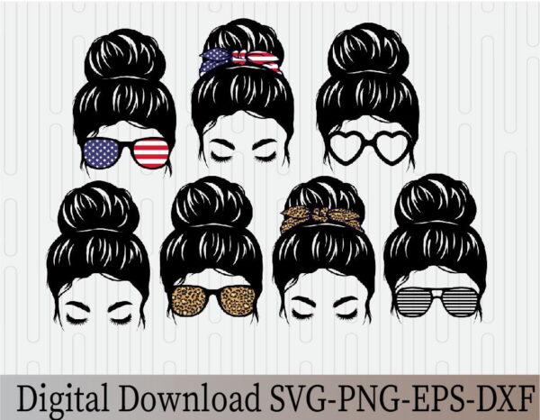 wtm 03 13 Vectorency Messy Bun Mom Life Messy Hair Bundle, Momlife SVG, Mom Skull SVG, Messy Bun Classy Afro Woman SVG, Printable, Cricut & Silhouette