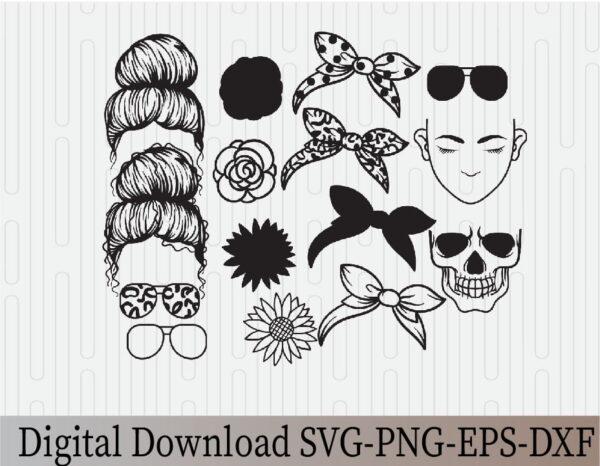 wtm 03 14 Vectorency Messy Bun Bandana Mom Life SVG Clip Art, Momlife SVG, Mom Skull SVG, Messy Bun Classy Afro Woman SVG, Printable, Cricut & Silhouette