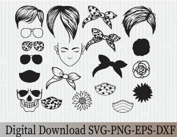 wtm 03 16 Vectorency Pixie Messy Bun Bandana Mom Life SVG, Momlife SVG, Mom Skull SVG, Messy Bun Classy Afro Woman SVG, Printable, Cricut & Silhouette