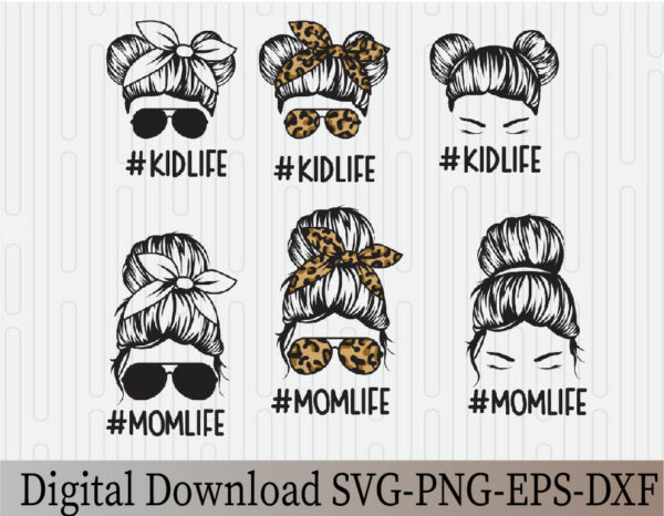 wtm 03 17 Vectorency Messy Bun SVG, Mom Life and Kid Life SVG, Momlife SVG, Mom Skull SVG, Messy Bun Classy Afro Woman SVG, Printable, Cricut & Silhouette