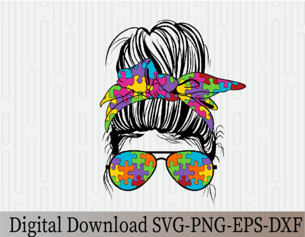 wtm 03 21 Vectorency Autism Mom SVG, Autism SVG, Autism PNG, Momlife SVG, Mom Skull SVG, Messy Bun Classy Afro Woman SVG, Printable, Cricut & Silhouette