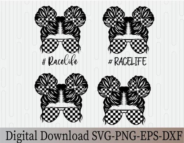 wtm 03 23 Vectorency Messy Bun Racelife SVG, Racing SVG, Race, Momlife SVG, Mom Skull SVG, Messy Bun Classy Afro Woman SVG, Printable, Cricut & Silhouette