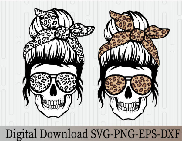 wtm 03 27 Vectorency Leopard Mom Skull SVG, Momlife SVG, Mom Skull SVG, Messy Bun Classy Afro Woman SVG, Printable, Cricut & Silhouette