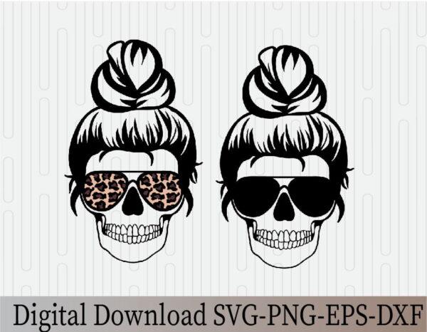 wtm 03 28 Vectorency Mom Life, Mom Life Skeleton, Skull, Momlife SVG, Mom Skull SVG, Messy Bun Classy Afro Woman SVG, Printable, Cricut & Silhouette