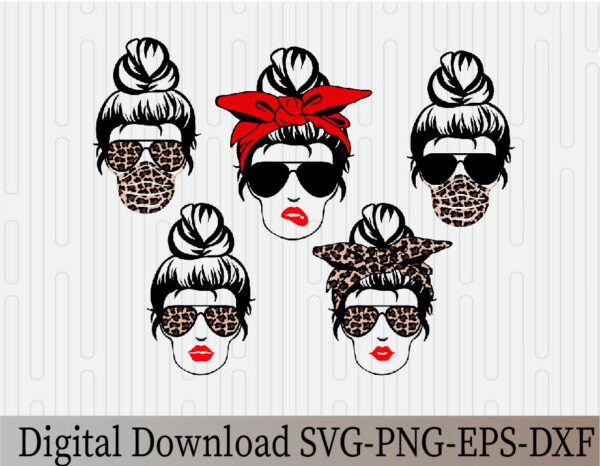 wtm 03 29 Vectorency Mom Life, Mom Life with Bandana, Momlife SVG, Mom Skull SVG, Messy Bun Classy Afro Woman SVG, Printable, Cricut & Silhouette