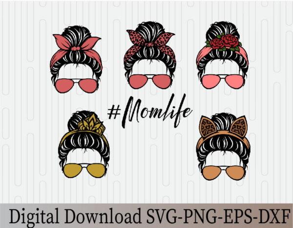 wtm 03 Vectorency Messy Bun with Sunglasses SVG, Momlife SVG, Mom Skull SVG, Messy Bun Classy Afro Woman SVG, Printable, Cricut & Silhouette