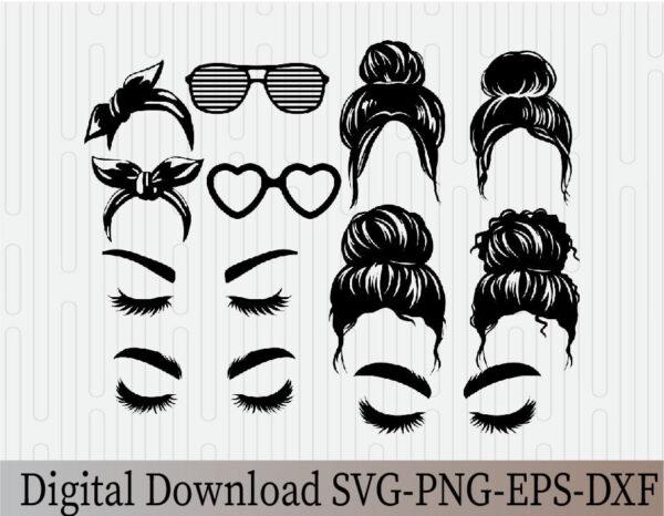 wtm 03 9 Vectorency Messy Bun Mom Life Messy Hair Bundle, Messy Bun SVG, Momlife SVG, Mom Skull SVG, Messy Bun Classy Afro Woman SVG, Printable, Cricut & Silhouette