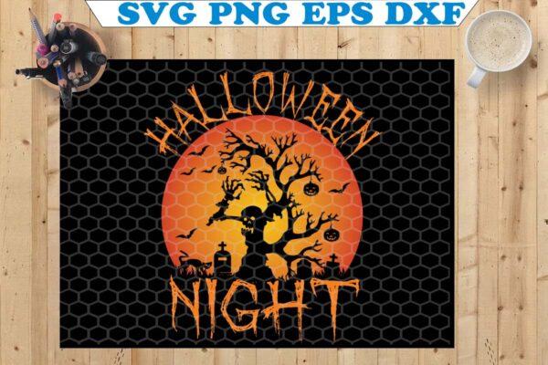 wtm 4 Vectorency Halloween Night SVG, Halloween Clipart, Halloween Scene SVG, Halloween Stencil, Halloween Silhouette, Halloween Cut File, Halloween Design