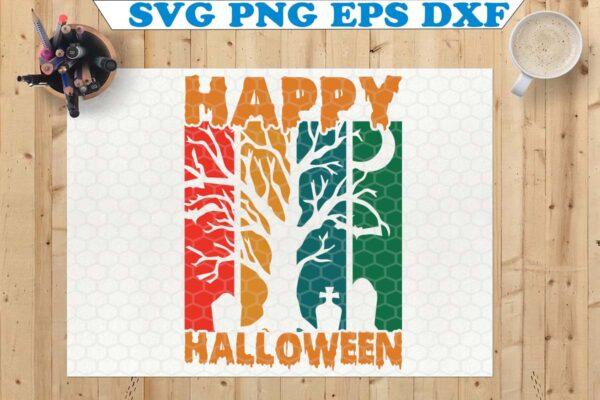 wtm 7 Vectorency Happy Halloween SVG, Halloween Sign SVG, Halloween SVG, Cricut, Silhouette, Halloween Shirt SVG, Witch Hat SVG, Witch SVG