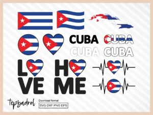 Cuba SVG Bundle, Flag Map Text Word and more