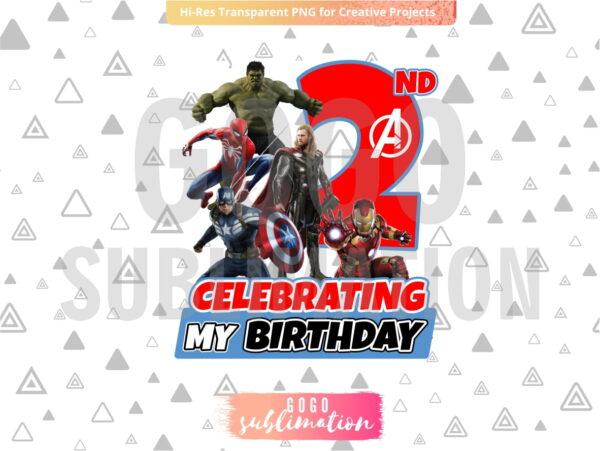 Marvel Avengers Celebrating My 2nd Birthday T-Shirt Design PNG
