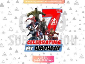 Marvel Avengers Celebrating My 7th Birthday T-Shirt Design PNG