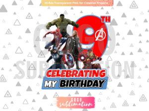Marvel Avengers Celebrating My 9th Birthday T-Shirt Design PNG