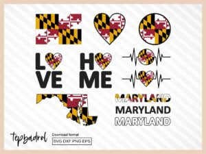 Maryland SVG Bundle, Maryland Flag Map Text Word and more