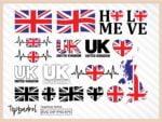 UK SVG Bundle, United Kingdom Flag Map Text Word and more